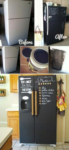 DIY chalkboard painting on a kitchen fridge 21 Inspiring Ways To Use Chalkboard Paint On a Kitchen Home Improvement Projects, Home Projects, Craft Projects, Diy Tableau Noir, Diy Chalkboard Paint, Chalkboard Fridge, Chalkboard Ideas, Chalkboard Designs, Chalkboard Paint Furniture