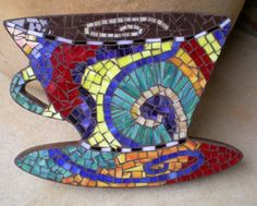 stained glass mosaic coffee cup