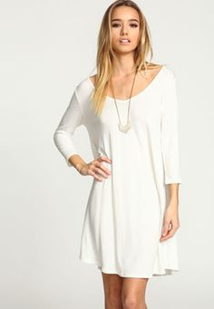 White V Neck Swing Knit Dress,