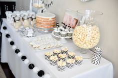 black and white dessert table closeup
