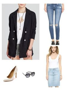 Work the spring weather with a great pair of distressed jeans, white pumps, and a summer weight blazer
