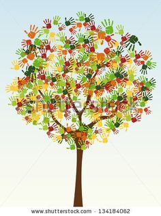 A tree of child hand prints by Pavel Kryshtapovich, via ShutterStock