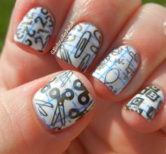 A Girl and Her Polish: Back to School Nails School Nail Art, Back To School Nails, Super Cute Nails, Pretty Nails, Geometric Nail, Nail Patterns, Stamping Nail Art, Cute Nail Designs, Manicure And Pedicure