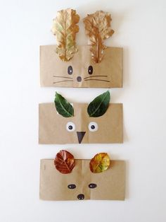 activité manuelle maternelle automne, couronne animal enfant avec des visages animaux dessinés au feutre sur des bandes de papier kraft et feuilles mortes en guise d oreilles