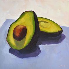 Avocado on Purple - 6x6, painting by artist Sharon Schock