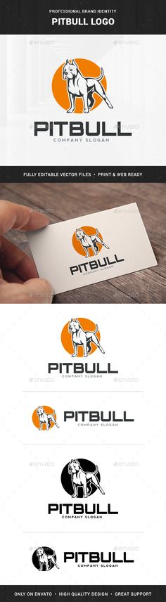 Pitbull Logo Template by LiveAtTheBBQ The Pitbull Logo TemplateA creative and unique logo featuring a pitbull. All elements are fully vector and can be used for both p