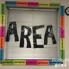 Love this visual for area and perimeter! It's easy, and SO visually clear that students won't forget which is which. Area and perimeter are discussed in grade. Area and Perimeter are addressed in CCSS and this decoration is very relevant! Maths 3e, Math Math, Vocabulary Bulletin Boards, Math Boards, Maths Algebra, Math Teacher, Fifth Grade Math, Fourth Grade, Area And Perimeter
