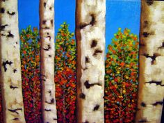 D.OBERLING/ORIGINAL/BIRCH TREES/FALL/AUTUMN/ABSTRACT/ART/OIL/PAINTING/18X24 #Realism
