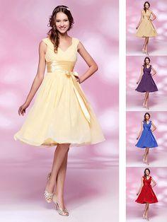 Knee-length Chiffon Bridesmaid Dress - Daffodil / Ruby / Grape / Royal Blue / Champagne Plus Sizes / Petite A-line / Princess V-neck - USD $64.99