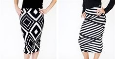 Diamondback Pencil Skirts and ZigZag Bandage Striped Pencil Skirts   Jane