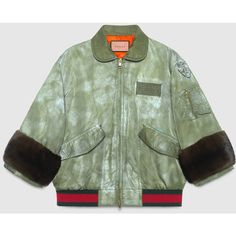 Gucci Guccighost Hand Painted Bomber (£3,680) ❤ liked on Polyvore featuring outerwear, jackets, fur bomber jacket, olive jacket, fur jacket, bomber jacket and military green bomber jacket