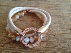 Wickelarmband Leder nude rosegold, Perlen von moanda auf DaWanda.com