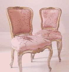 Vanity chairs in pink and silver