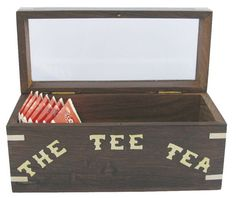 Maritime Teebeutel-Box Holz mit Glasdeckel Messing, Toy Chest, Storage Chest, Tea, Grande, Material, Products, Treasure Chest, Packaging