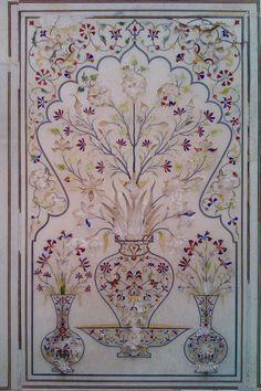 Beautiful inlay work at Naulakha Pavilion, Lahore Fort - From Mughal period 1631 -Pakistan