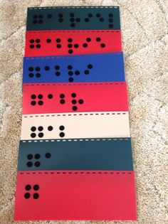 Use Velcro dots to encourage new Braille readers to learn their name in factually. Bind the pages on top or on the side to create a book. (Merry-Noel Chamberlain, TVI)