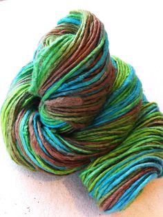 Handspun hand dyed pure silk yarn Made from by Crochetmushroom, $7.00