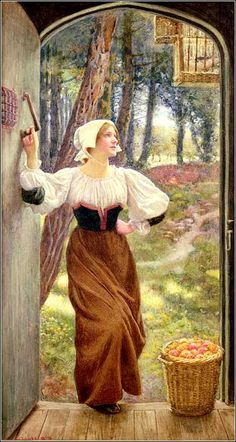 "Edward Robert Hughes - PreRaphaelism - ""Tithe in Kind"" This unabashed sentimentalist portrait shows a young woman bringing the first fruits of her apple orchard as an offering to a parsonage."