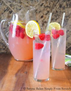 Sparkling Raspberry Lemonade With An Easy Cocktail Option | Serena Bakes Simply From Scratch