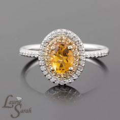 14kt White Gold Citrine Engagement Ring with by LaurieSarahDesigns, $1540.50