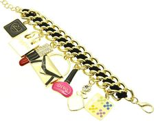 BRACELET / FASHION CHARMS / LINK / METAL / FABRIC / CRYSTAL STONE PAVED / EPOXY / LIPSTICK PURSE / 2 1/3 INCH TALL / NICKEL AND LEAD COMPLIANT