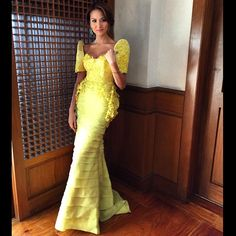 Wearing for Makati City's Flores de Mayo Modern Filipiniana Gown, Filipiniana Wedding, Filipino Fashion, Asian Fashion, Philippines Fashion, Philippines Culture, Debut Dresses, Floral Gown, Dressed To The Nines