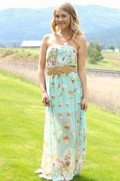 NanaMacs Boutique - Mint Floral Maxi Dress With Pearl Belt, $45.00 (http://www.nanamacs.com/mint-floral-maxi-dress-with-pearl-belt/)
