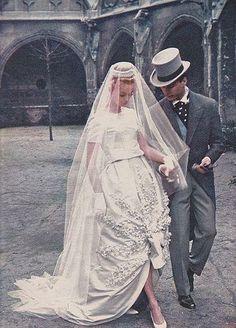So chic! A Nina Ricci bride circa 1960.
