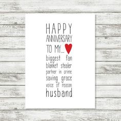 Anniversary Card Happy Anniversary Husband by WintsPrints on Etsy