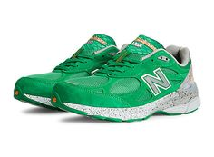 Mens Limited Edition Boston 990v3, Green with White & Silver