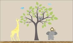 childrens removable vinyl wall decal Tree Elephant by wallinspired