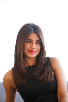 Indian film actress and singer Priyanka Chopra poses for a photo while promoting the film 'Mary Kom'at the 2014 Toronto International Film Festival (Photo by Michael Hurcomb/Corbis via Getty Images) Haircuts For Long Hair With Layers, Haircuts Straight Hair, Haircuts For Medium Hair, Long Layered Hair, Medium Hair Cuts, Long Hair Cuts, Medium Hair Styles, Short Hair Styles, Long Bob Cuts