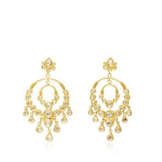 Sanjay Kasliwal Raj Polki Chandelier Earrings (353,460 DOP) ❤ liked on Polyvore featuring jewelry, earrings, chandelier jewelry, western earrings, sparkly earrings, indian jewellery and sparkle jewelry