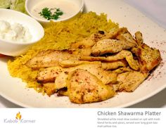 CHICKEN SHAWARMA PLATTER             . Shredded white meat slow cooked on spit with traditional herbs and spices, served over long grain yellow basmati rice.