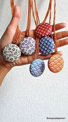 Fabric button necklaces #diy