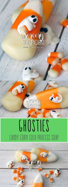 Ghosties and Candy Corn Cold process soap. #halloween #halloweensoap #sorcerysoap