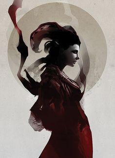 Art Print  Digital Painting  Fantasy Woman Dark by jefflangevin, $25.00