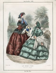 Le Bon Ton, September 1856.  Civil War Era Fashion Plate