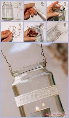 How to hang mason jars with wire. There are so many crafts with mason jars on Pintrest, I guess I should learn how to hang them. Diy Wedding Projects, Easy Diy Projects, Craft Projects, Outdoor Projects, Garden Projects, Crochet Projects, Craft Ideas, Decor Ideas, Mason Jar Lanterns