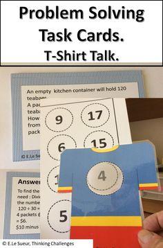 Math Problem Solving task cards: T-Shirt Talk Math 5, Math Literacy, Literacy Centers, Classroom Activities, Fun Math, Math Problem Solving, Math Task Cards, Thematic Units, Critical Thinking Skills
