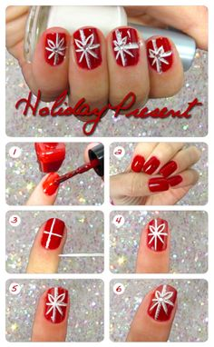 Holiday Present on Ryan Seacrest http://ryanseacrest.com/2012/12/12/create-this-cute-winter-wonderland-nail-design/#sg7