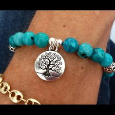 """Turquoise Tree Of Life Bracelet Beautiful Nice Turquoise Gemstones, Antique Silver Beads, with Large Sterling Silver Lobster Clasp and Beads. Features Pewter """"Tree of Life"""" Charm. 7 1/2""""⭐️ Custom size available Jewelry Bracelets"""