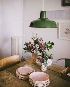 Rustic and simple. love the green and blush color combination