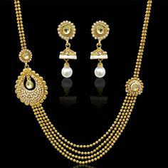 Traditional glowing bridal india pearl meena necklace kundan set