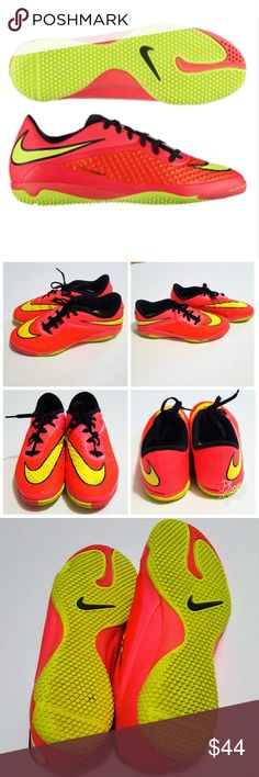 Nike Hypervenom Phelon Indoor Soccer Shoes 6 Nike Hypervenom Phelon IC Indoor Soccer Shoes (Bright Crimson/Volt/Hyper Punch/Black)  Size 6 Youth. Very good overall condition with signs of wear as shown in pics (some scuffing etc). Awesome neon colors. Actual colors are in the first paragraph. First pic is a stock photo. Nike Shoes Sneakers