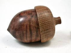 LV-2228 Wooden Acorn Pill Box, Jewelry/Engagement Ring Box from Redwood Burl