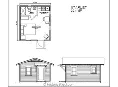 Historic Shed Starlet Floor Plan, could be modified to put bunk beds where the bathroom is. I like this one.
