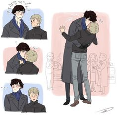 """well you started it john"" then later… REVENGE  ittybittygrey: Sherlock  putting a scarf on John and John sneaking a peck. Sherlock pr..."