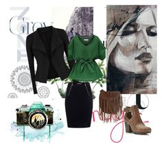 """""""#Green"""" by emirica ❤ liked on Polyvore featuring Donna Karan, T By Alexander Wang, Glamorous, Miss Selfridge and WallPops"""