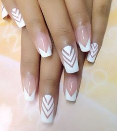 The Look Stunning starter pack: white and naked nails with chevron pattern. The Look Stunning starter pack: white and naked nails with chevron pattern. White Glitter Nails, Glittery Nails, White Nail Art, Nail Pink, Orange Nail, White Nail Designs, Nail Art Designs, Nails Design, Chevron Nail Designs
